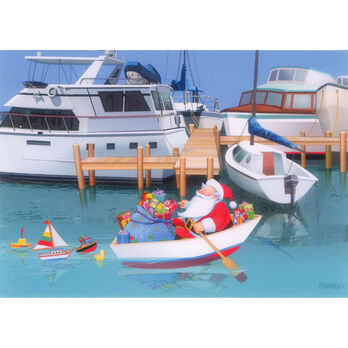 Kersten Brothers Personalized Rowing Santa Christmas Cards