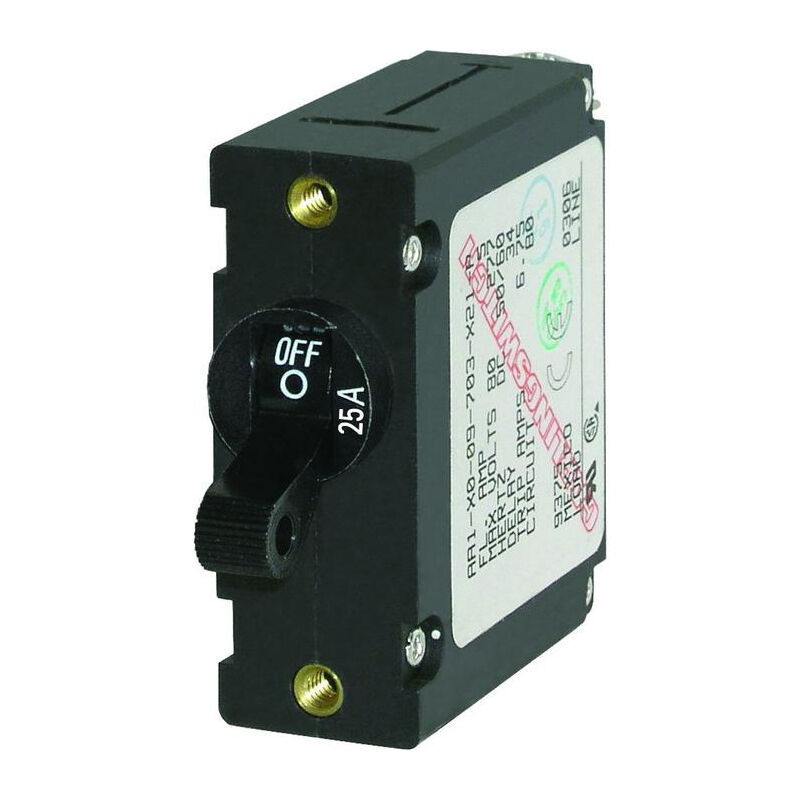 Blue Sea Circuit Breaker A-Series Toggle Switch, Single Pole, 25A, Black image number 1