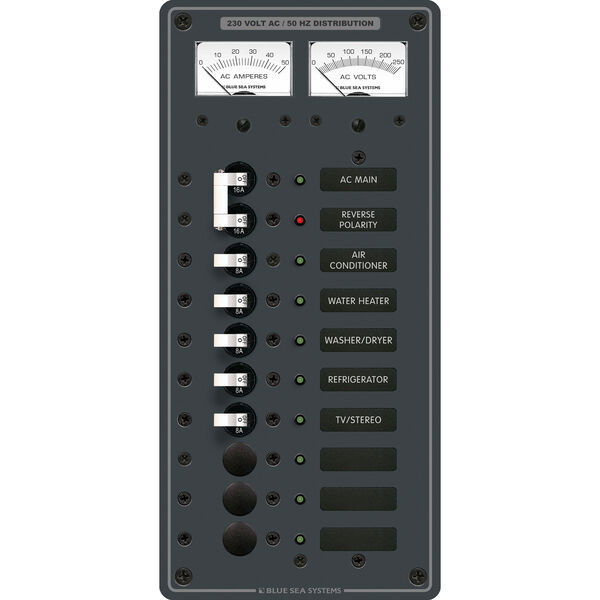 Blue Sea Systems Panel, 230V AC (European), AC Main + 8 Positions & Micro Meters