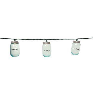 """10 Mini Mason Jar Lights, 7'8"""""""