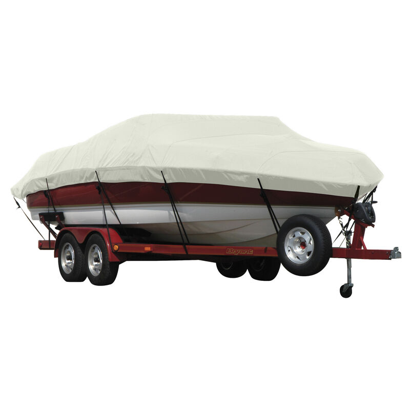 Exact Fit Covermate Sunbrella Boat Cover for Tracker Party Barge 21 Signature Party Barge 21 Signature W/Bimini Laid Aft O/B image number 16