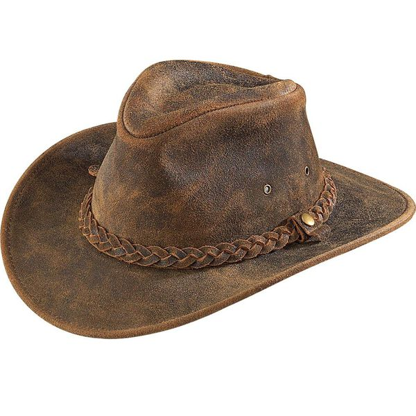 Outback Crushable Leather Hat- Rustic, Large