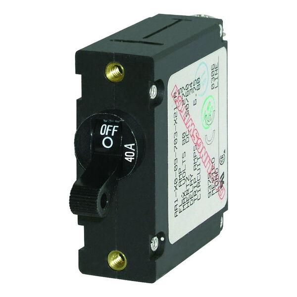 Blue Sea Circuit Breaker A-Series Toggle Switch, Single Pole, 40A, Black