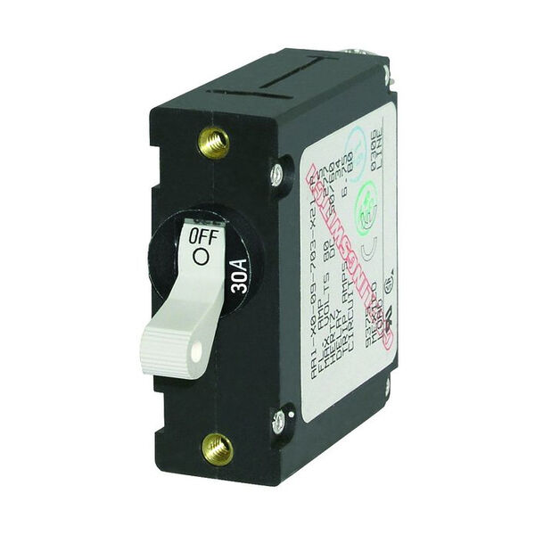 Blue Sea Circuit Breaker A-Series Toggle Switch, Single Pole, 30A, White