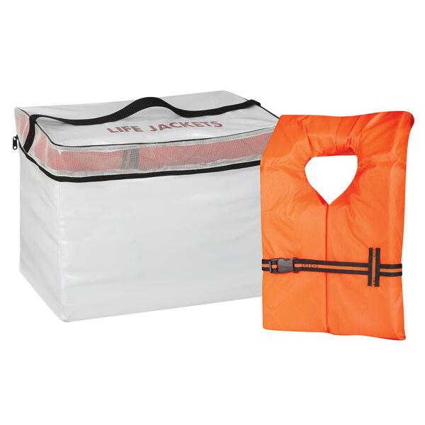 Life Jacket Storage Bag and 5 Adult Type II Life Vests
