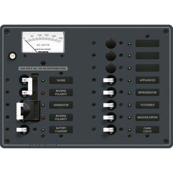 Blue Sea Systems AC 2 Sources +9 Positions Panel (European)