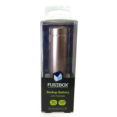 FuseBox Rechargeable Pewter Backup Battery with Flashlight
