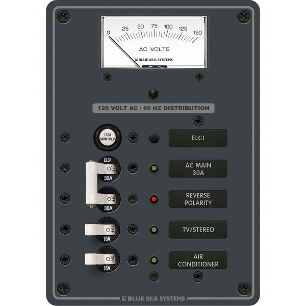 Blue Sea Systems AC Panel, ELCI Main 30A Double Pole + 2 Positions w/Voltmeter