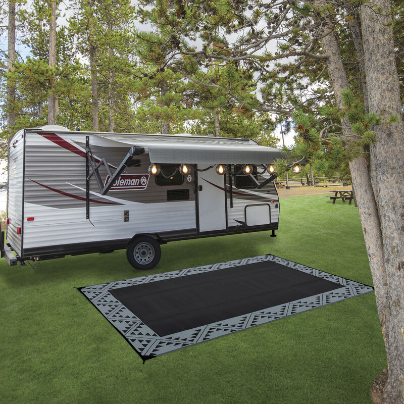 Reversible RV Patio Mat with Aztec Border Design image number 6