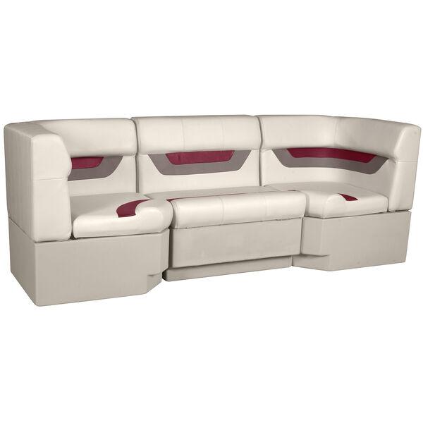 "Designer Pontoon Furniture - 86"" Rear Seat Package, Platinum/Dark Red/Mocha"
