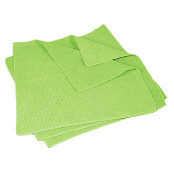 """Buffalo 16"""" x 16"""" Microfiber Cleaning Cloths, Green, 5-Pack"""