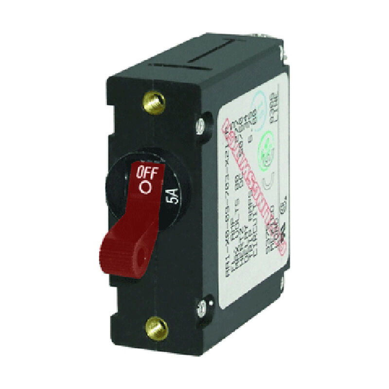 Blue Sea Circuit Breaker A-Series Toggle Switch, Single Pole, 5A, Red image number 1