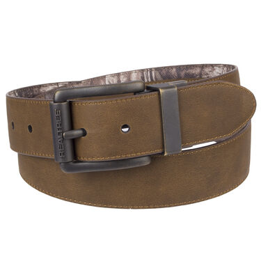 """Realtree Men's 1.5"""" Reversible Feather-Edge Belt with Center Overlay"""