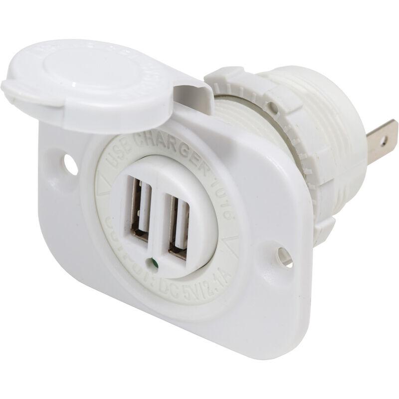Blue Sea 12V DC Dual USB Charger Socket, White image number 1