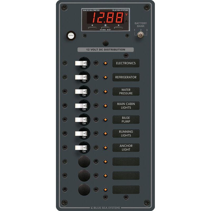 Blue Sea 12/24V DC Branch Circuit Breaker Panel: 10 Position, Digital Multimeter image number 1