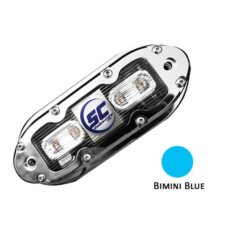 Shadow-Caster SCM-4 LED Underwater Light w/20' Cable - 316 SS Housing - Bimini Blue image number 1