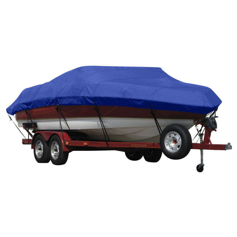 Exact Fit Covermate Sunbrella Boat Cover for Tracker Party Barge 21 Signature Party Barge 21 Signature W/Bimini Laid Aft O/B image number 12