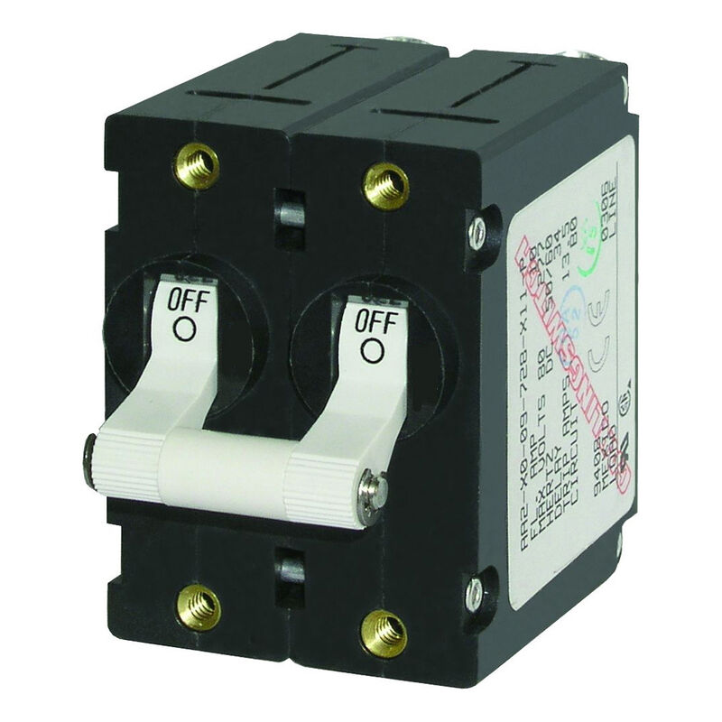 Blue Sea AC Circuit Breaker A-Series Toggle Switch, Double Pole, 10A, White image number 1