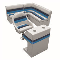 Deluxe Pontoon Furniture w/Classic Base - Rear Group Package D, Gray/Navy/Blue