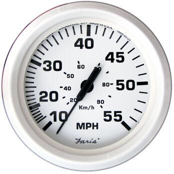 "Faria 4"" Dress White Series Speedometer, 55 MPH"