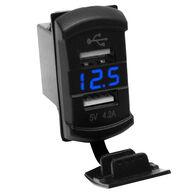 Race Sport Dual-Port USB Rocker Panel with Blue Voltmeter