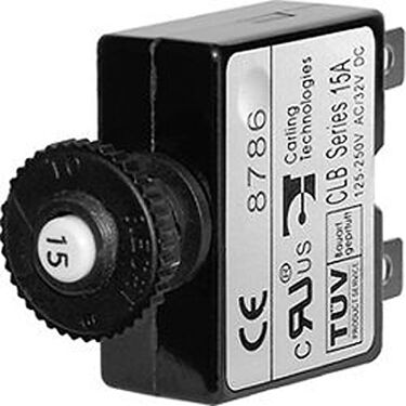 Blue Sea Push-Button Reset-Only Quick-Connect Thermal DC Circuit Breaker, 3A