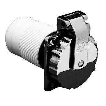 Marinco Stainless Steel Easy Lock Power Inlet, 50-Amp 125V