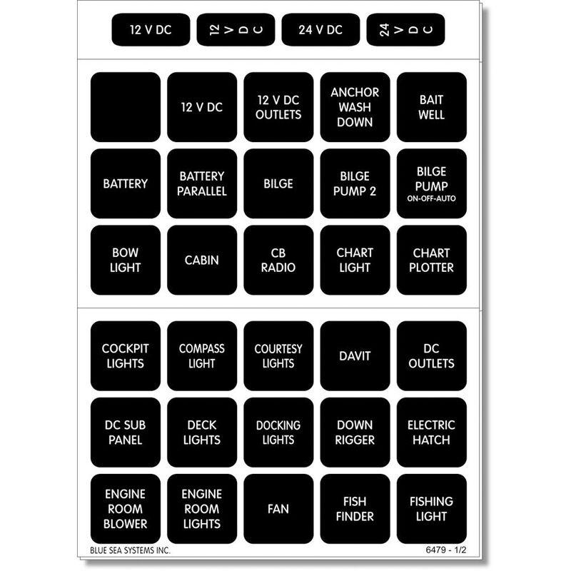 Blue Sea 4216 Square Format DC Panel Label Set, 60 labels image number 1