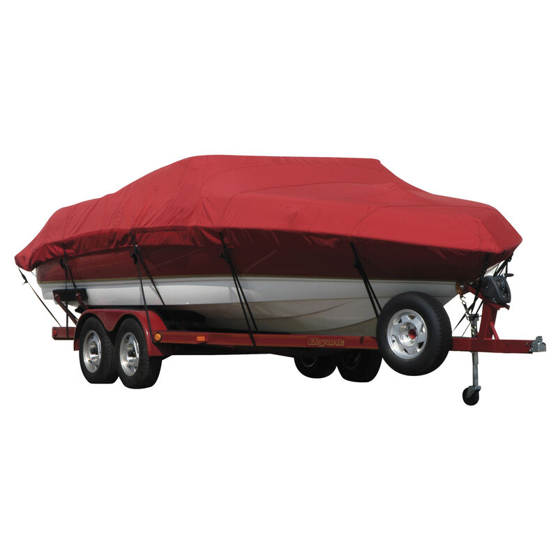 Exact Fit Covermate Sunbrella Boat Cover for Tracker Party Barge 21 Signature Party Barge 21 Signature W/Bimini Laid Aft O/B image number 15