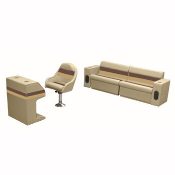 Deluxe Pontoon Furniture w/Toe Kick Base - Rear Basic Package, Sand/Chestnt/Gold