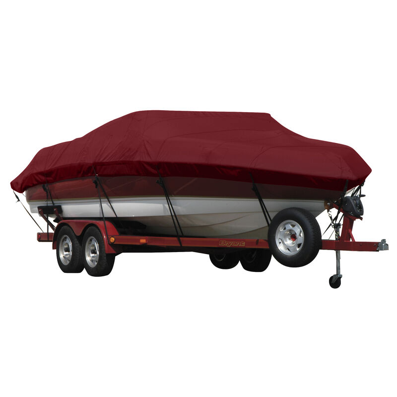 Exact Fit Covermate Sunbrella Boat Cover for Tracker Party Barge 21 Signature Party Barge 21 Signature W/Bimini Laid Aft O/B image number 3
