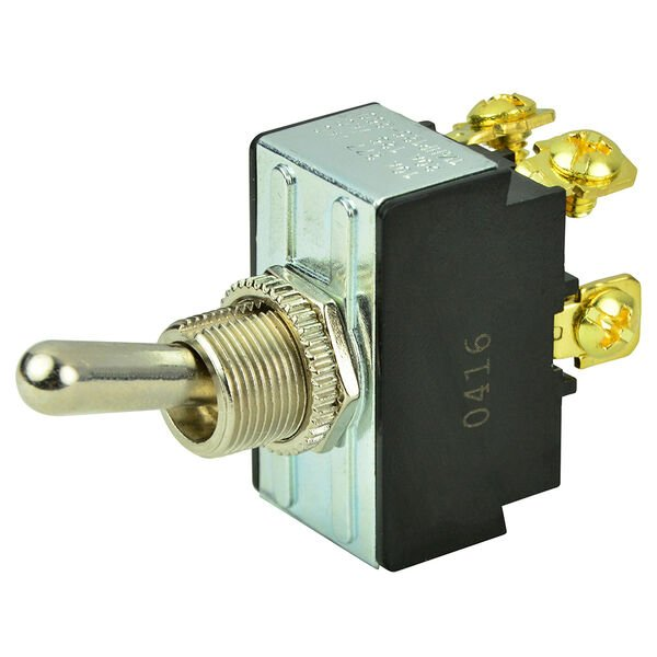 BEP DPST Chrome Plated Toggle Switch, Off/On