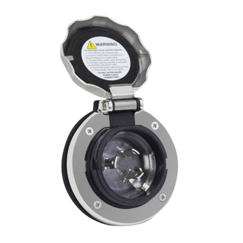 Furrion 30 Amp Round Power Inlet, 125V, Stainless Steel image number 2