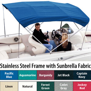 Shademate Sunbrella Stainless 4-Bow Bimini Top 8'L x 54''H 61''-66'' Wide