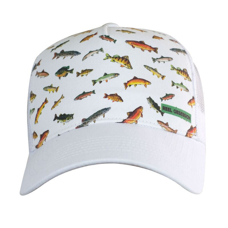 Reel Obsession Men's Downstream Fish Print Trucker Hat image number 1