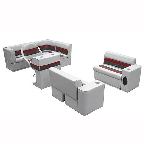 Deluxe Pontoon Seats w/Toe Kick Base, Group 1 Package Plus Stand, Gray/Red/Charc