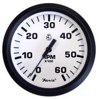 "Faria 4"" Euro White Series Tachometer, 6,000 RPM Gas Inboard & Inboard/Outboard"