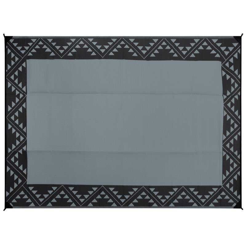 Reversible RV Patio Mat with Aztec Border Design image number 2