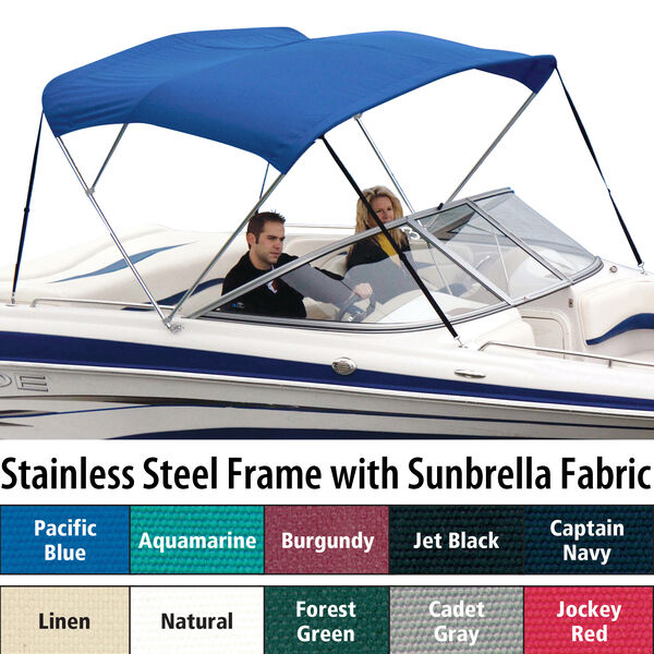 Shademate Sunbrella Stainless 3-Bow Bimini Top 6'L x 46''H 54''-60'' Wide