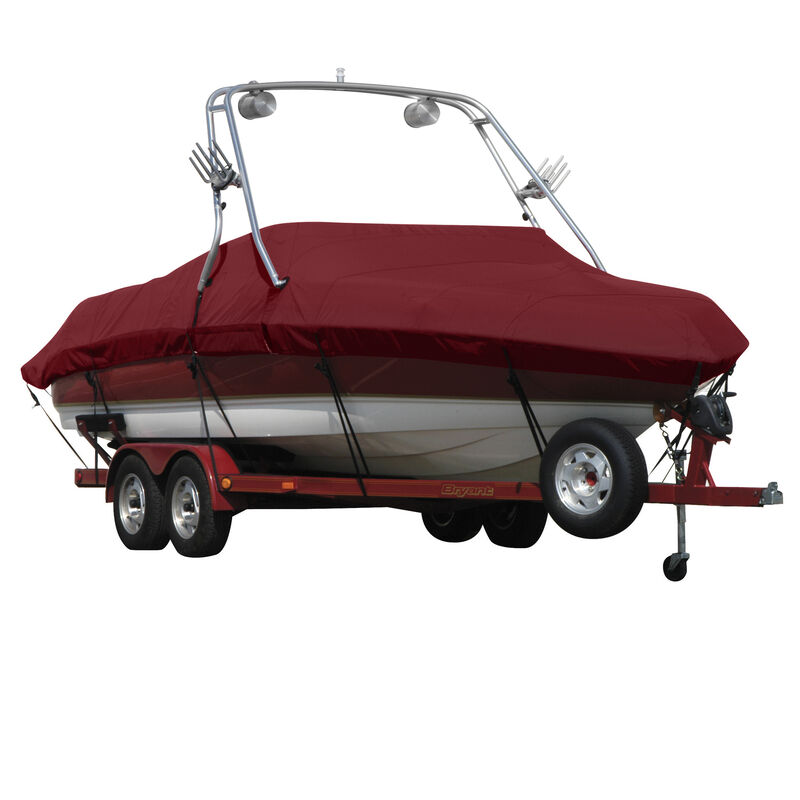 Exact Fit Covermate Sharkskin Boat Cover For MALIBU SUNSETTER 23 XTI w/TITAN TOWER CUTOUTS COVERS SWIM PLATFORM image number 3
