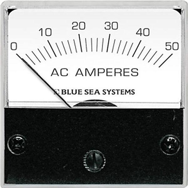 Blue Sea AC Micro Analog Ammeter + Transformer, 0-50A