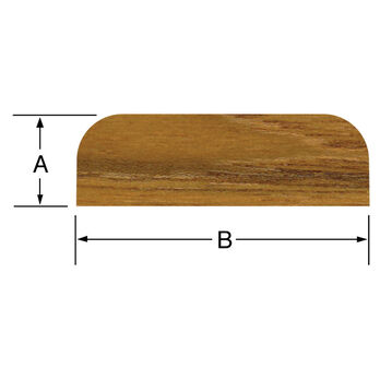 "SeaForce Teak Batten, 5'L x 1-7/8""W (B) x 3/8"" thick (A)"