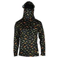 Reel Obsession Men's School Of Fish Long-Sleeve Hooded Sunshirt