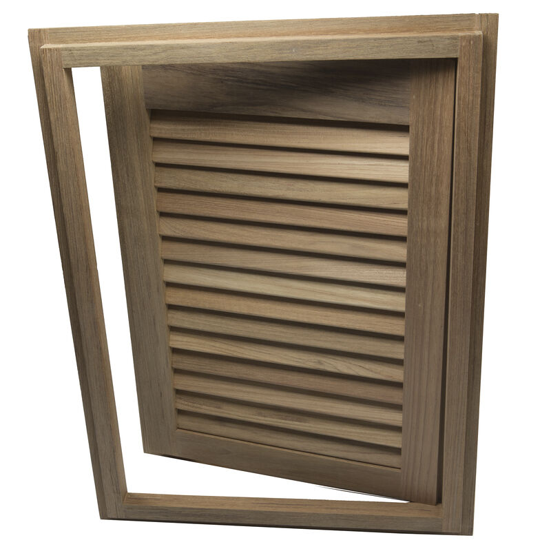 """Whitecap Teak 15"""" x 20"""" Louvered Door & Frame, Right-Hand Opening image number 3"""