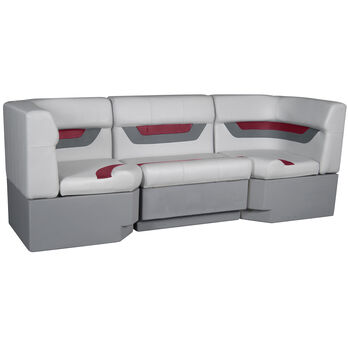 "Designer Pontoon Furniture - 86"" Rear Seat Package, Sky Gray/Dark Red"