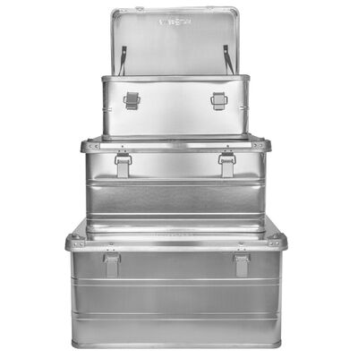 Swiss Link Aluminum Storage Boxes, 3-Pack of Small, Medium, and Large