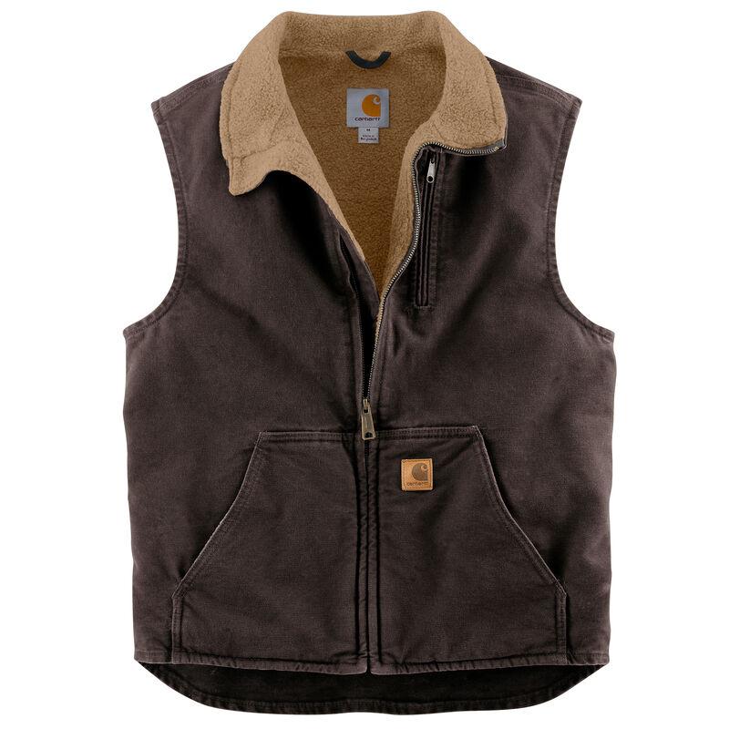 Carhartt Men's Sandstone Sherpa-Lined Mock-Neck Vest image number 3