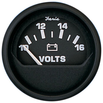 "Faria 2"" Euro Black Series Voltmeter, 10-16V DC"