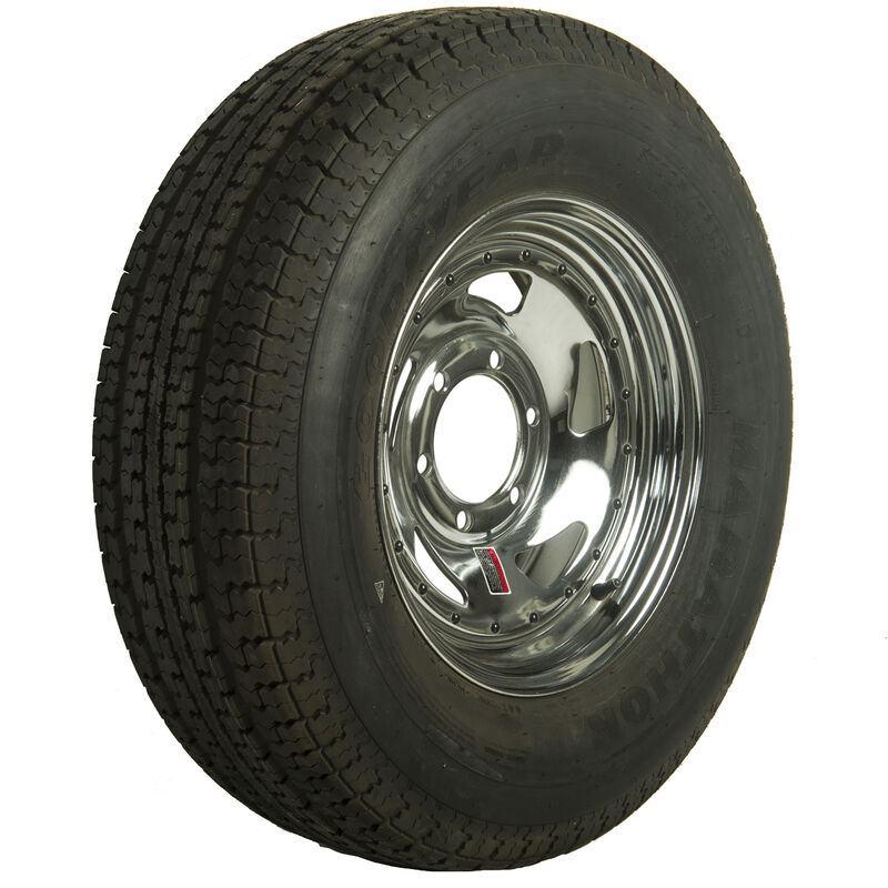 Goodyear Marathon 225/75 R 15 Radial Trailer Tire, 6-Lug Chrome Directional Rim image number 1