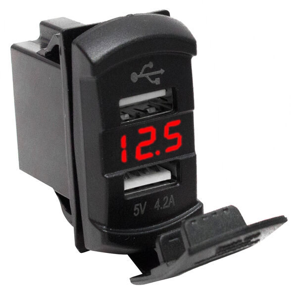 Race Sport Dual-Port USB Rocker Panel with Red Voltmeter